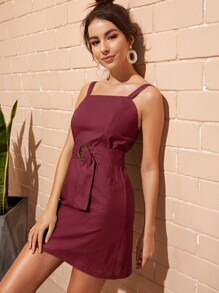 O-ring Belted Cami Dress