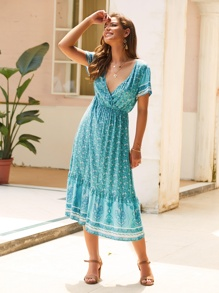 Ditsy Floral Tribal Print Surplice Dress