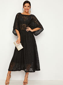 Allover Lace Sheer Longline Dress