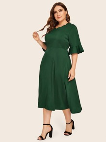 Plus Flounce Sleeve Scallop Trim Dress