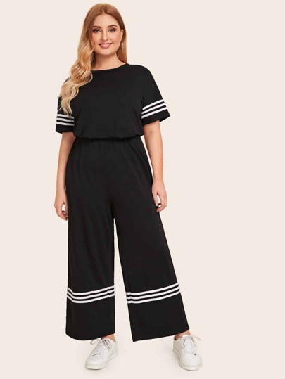 Plus Stripe Sleeve Tee & Wide Leg Pants