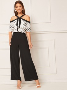 Polka Dot Ruffle Trim Top & Pants Set