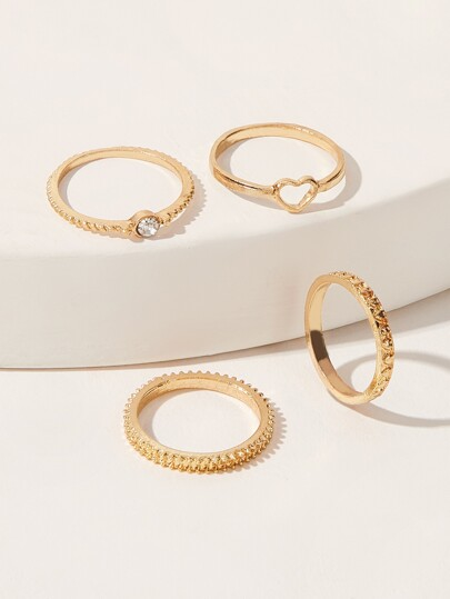 Mixed Texture Ring Set 4pcs