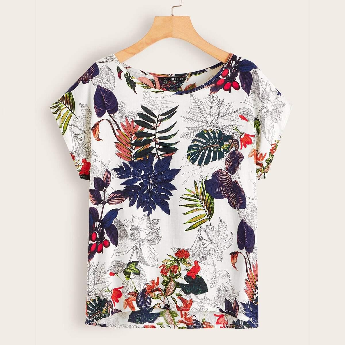 Short Sleeve Botanical Print Top