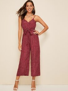 Dot Print Surplice Neck Wide Leg Cami Jumpsuit