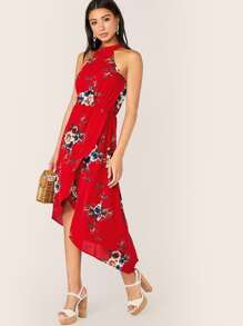 Floral Print Wrap Asymmetrical Hem Halter Dress