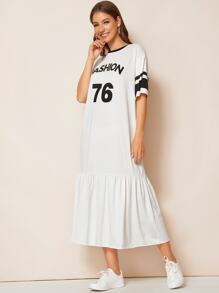 Contrast Neck Varsity Print Flippy Hem Dress