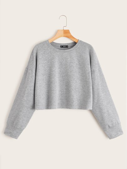 Drop Shoulder Raw Hem Crop Pullover