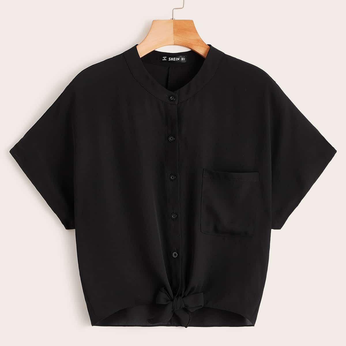 Однотонная рубашка с завязкой и карманом