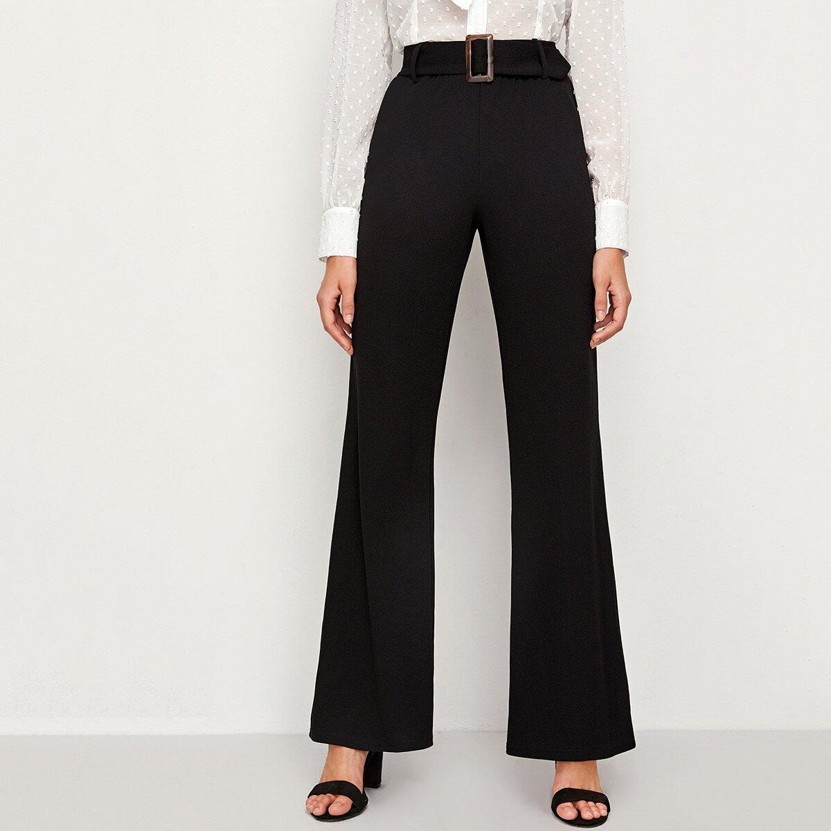 Однотонные брюки с поясом и пряжкой