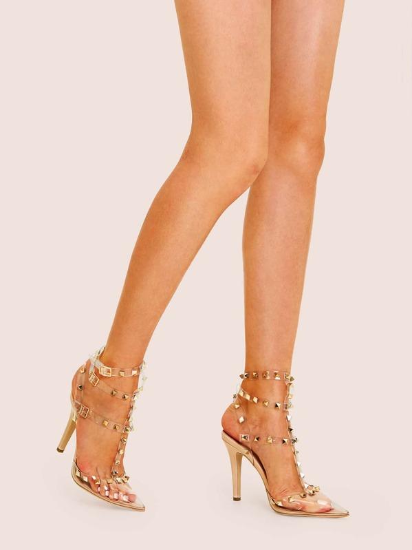 f465fd79857 Studded Decor Clear Strap Stiletto Heels