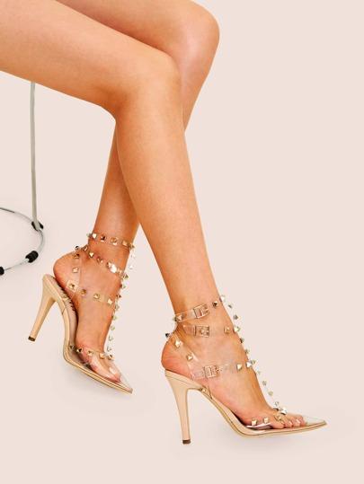 8b105a909ff Studded Decor Clear Strap Stiletto Heels