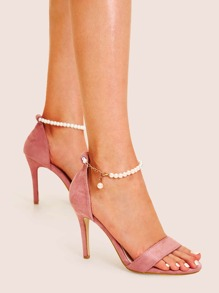Faux Pearl Decor Ankle Strap Stiletto Heels