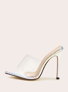 Clear Open Toe Stiletto Heeled Mules