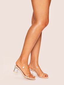 Clear Strap Block Heeled Mules