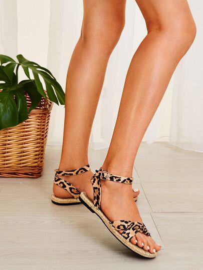 5ef88733b Leopard Print Buckle Strap Espadrille Sandals
