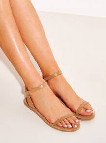 Two Part Ankle Strap Flat Sandals