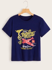 Airplane & Letter Print Tee