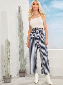 Cami Top With Striped Paperbag Waist Belted Wide Leg Pants