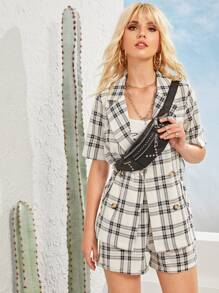 Plaid Double Button Belted Blazer With Shorts