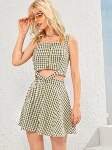 Gingham Button Front Top With Skirt