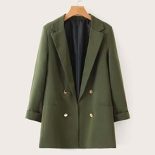 Solid Double-breasted Notched Neck Blazer
