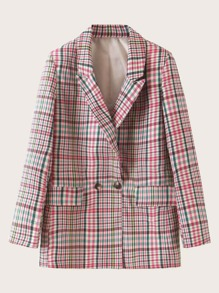 Plaid Double Button Flap Pocket Blazer
