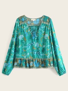 Tribal Print Tie Neck Blouse