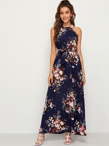 Floral Print Tie Back Belted Maxi Dress