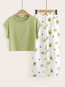 Cap Sleeve Tee & Avocado Print Pants