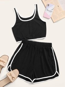 Contrast Binding Crop Tank Top & Track Shorts