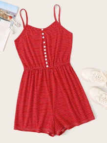 Striped Button Front Cami Playsuit