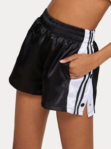 Elastic Waist Cut And Sew Side Stripe Track Shorts