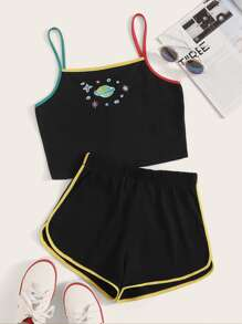 Planet Embroidered Binding Trim Cami Top With Track Shorts
