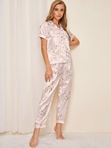 Striped Floral Print Satin Pajama Set