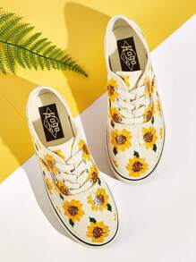 Floral Print Lace-up Front Sneakers