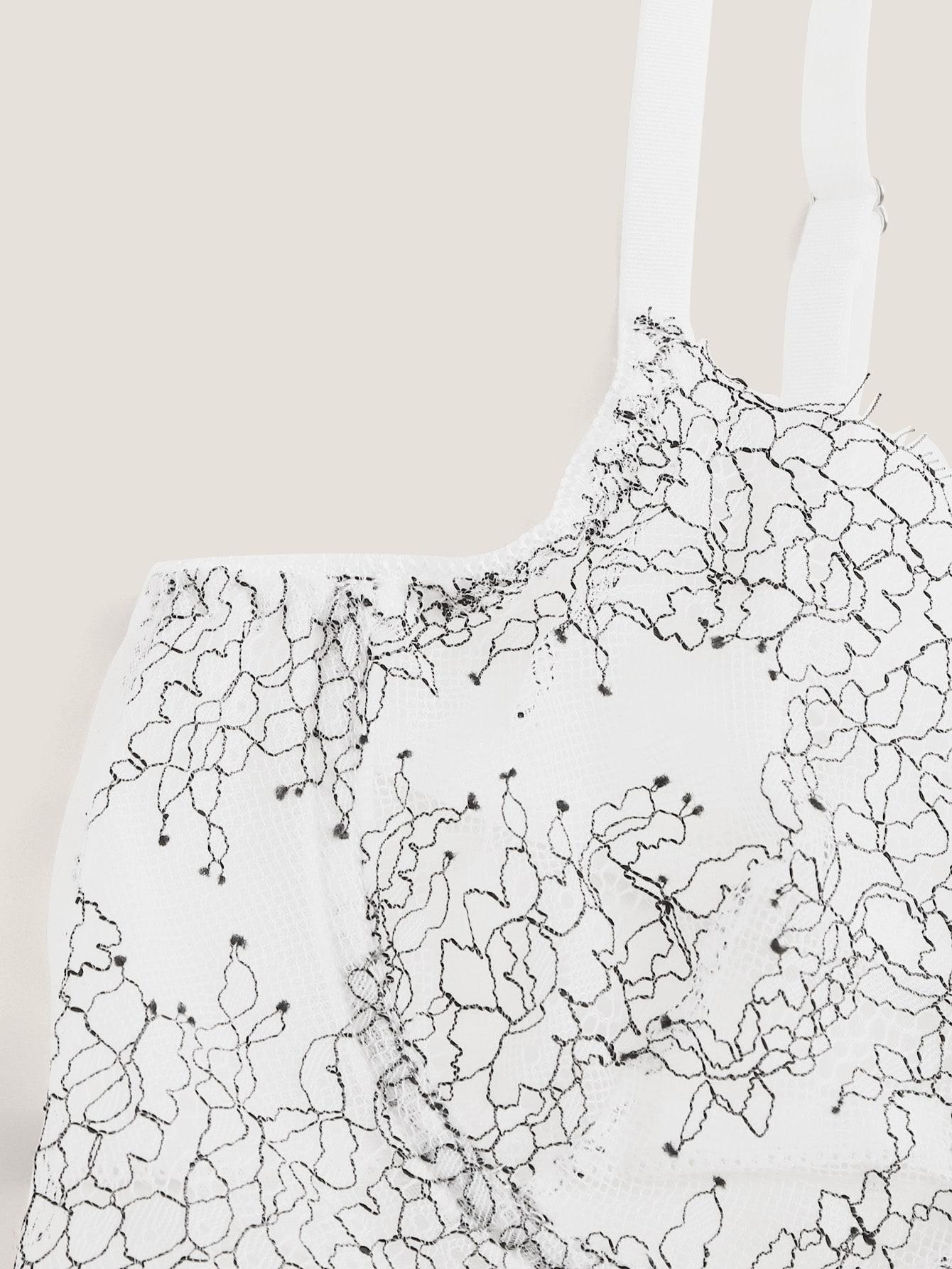 contrast lace underwire sheer lingerie set
