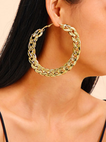 Chain Design Hoop Earrings 1pair