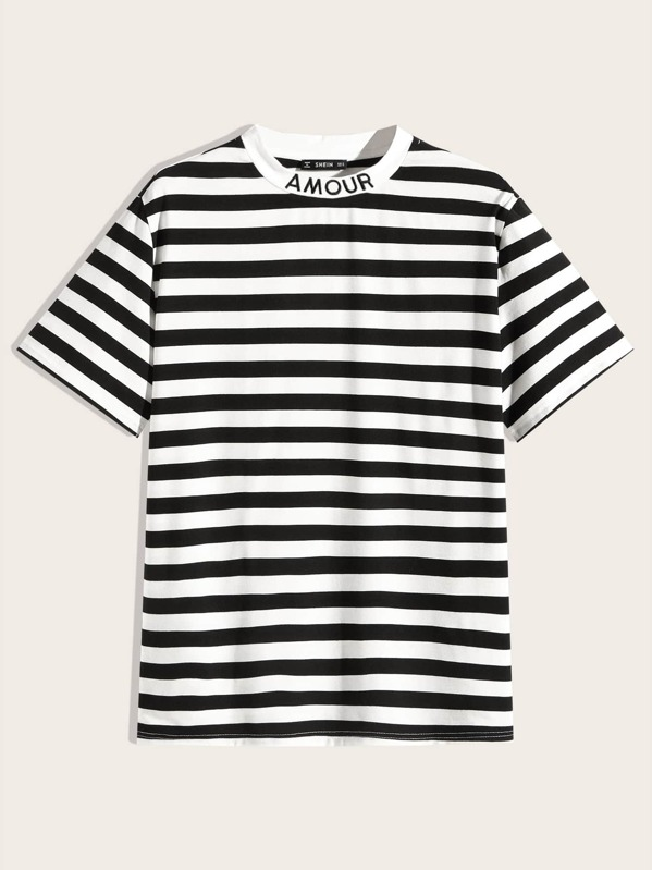 SheinMen Letter Embroidery Neck Striped Top by Sheinside
