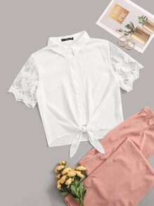Tie Front Embroidery Mesh Sleeve Top