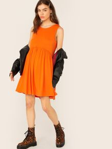 Neon Orange Flared Dress