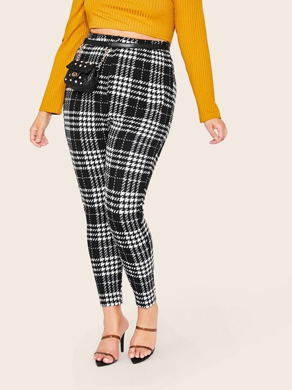 Shein Plus Elastic Waist Plaid Leggings by Sheinside