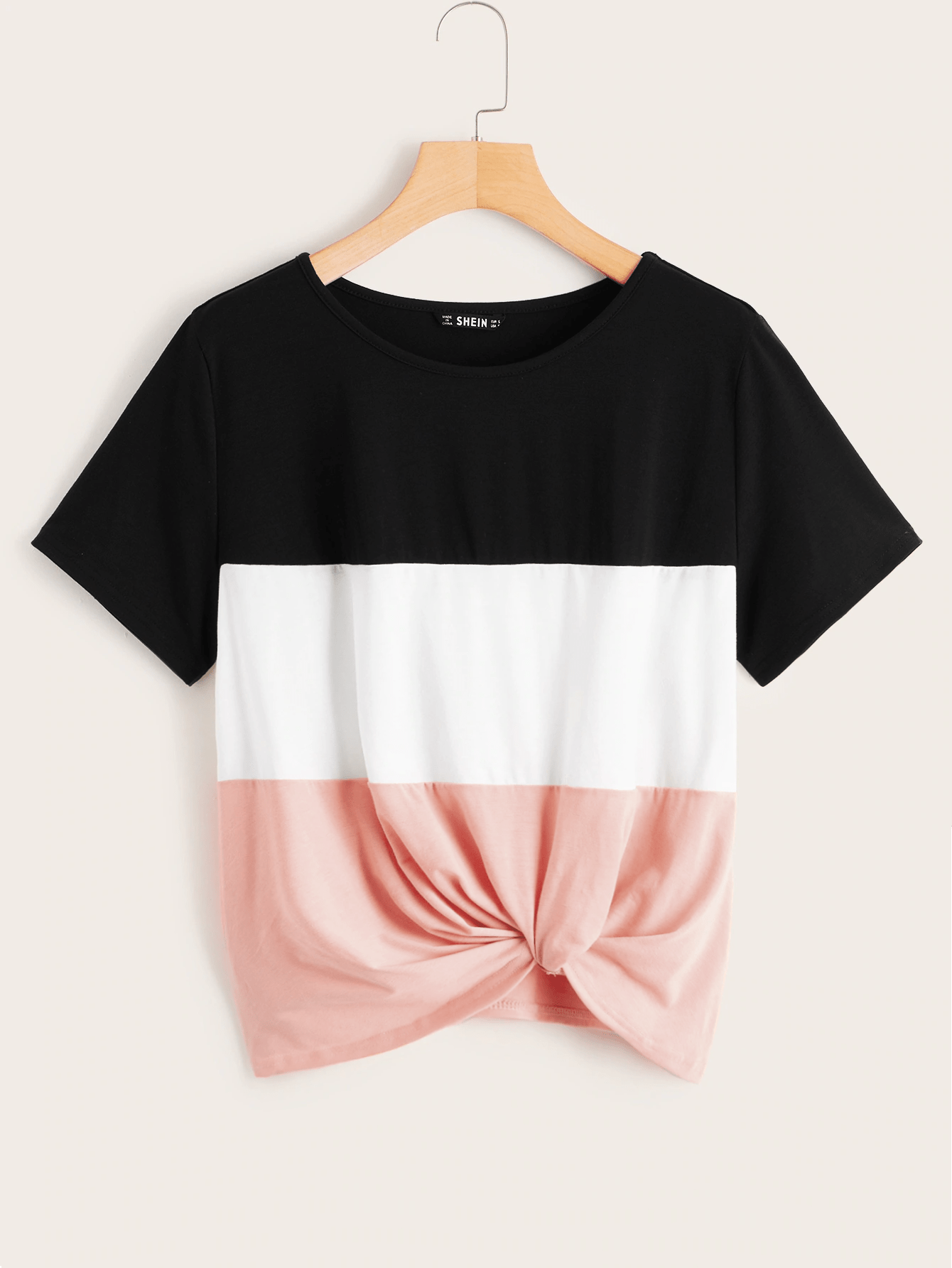 Colorblock Twist Hem Top