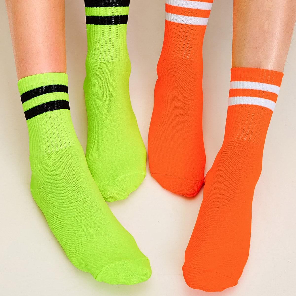 SHEIN coupon: Striped Pattern Socks 2pairs