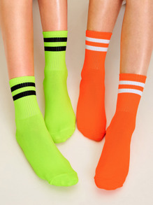Striped Pattern Socks 2pairs