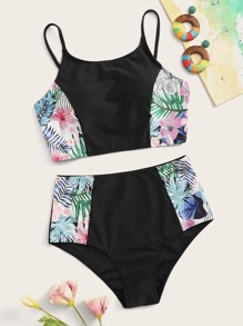 Contrast Tropical Top With High Waist Bikini Set