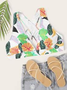 Plus Tropical Criss Cross Bikini Top