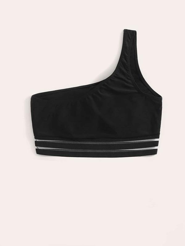 5c9b6399769 Contrast Mesh One Shoulder Bikini Top | SHEIN