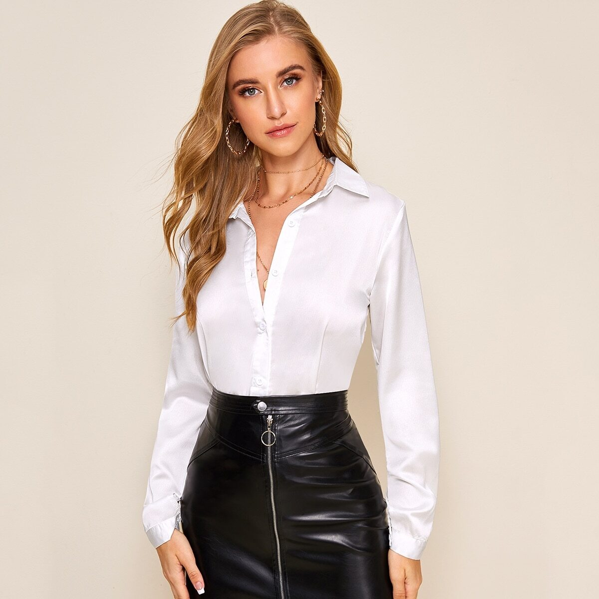 Белая Блуза На Пуговицах С Длинным Рукавом И Манжетами
