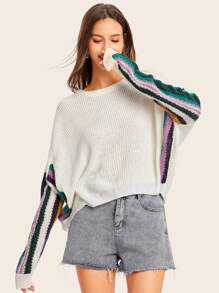 Color-block Batwing Sleeve Sweater